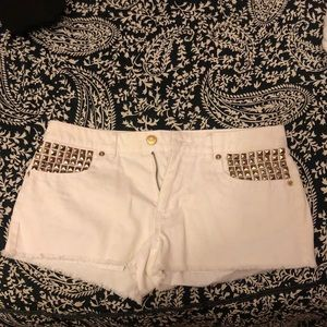 Michael Kors Sz 2 White Jean Gold Studded Shorts